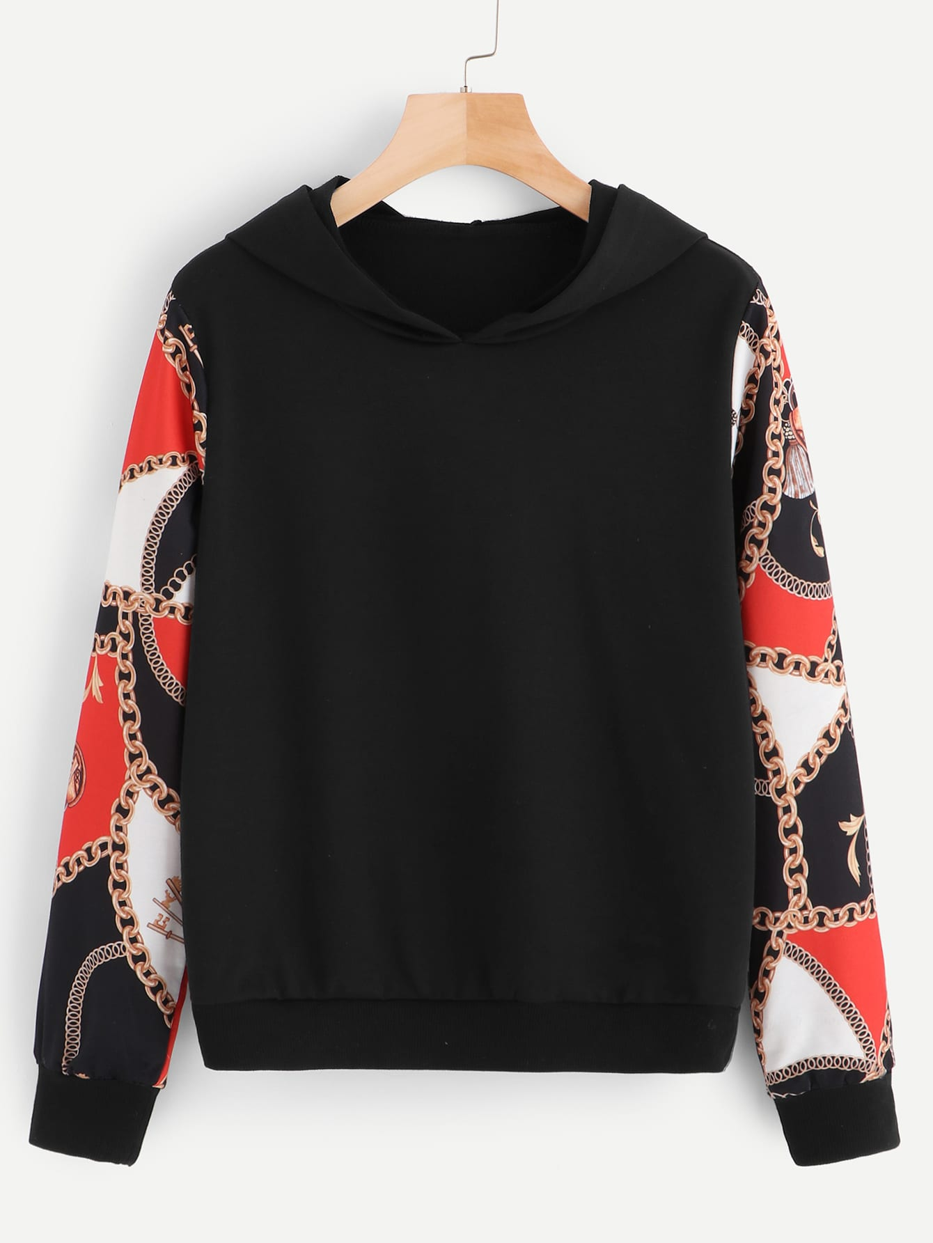 Chain Print Sleeve Hooded Sweatshirt Chain Print Sleeve Hooded Sweatshirt