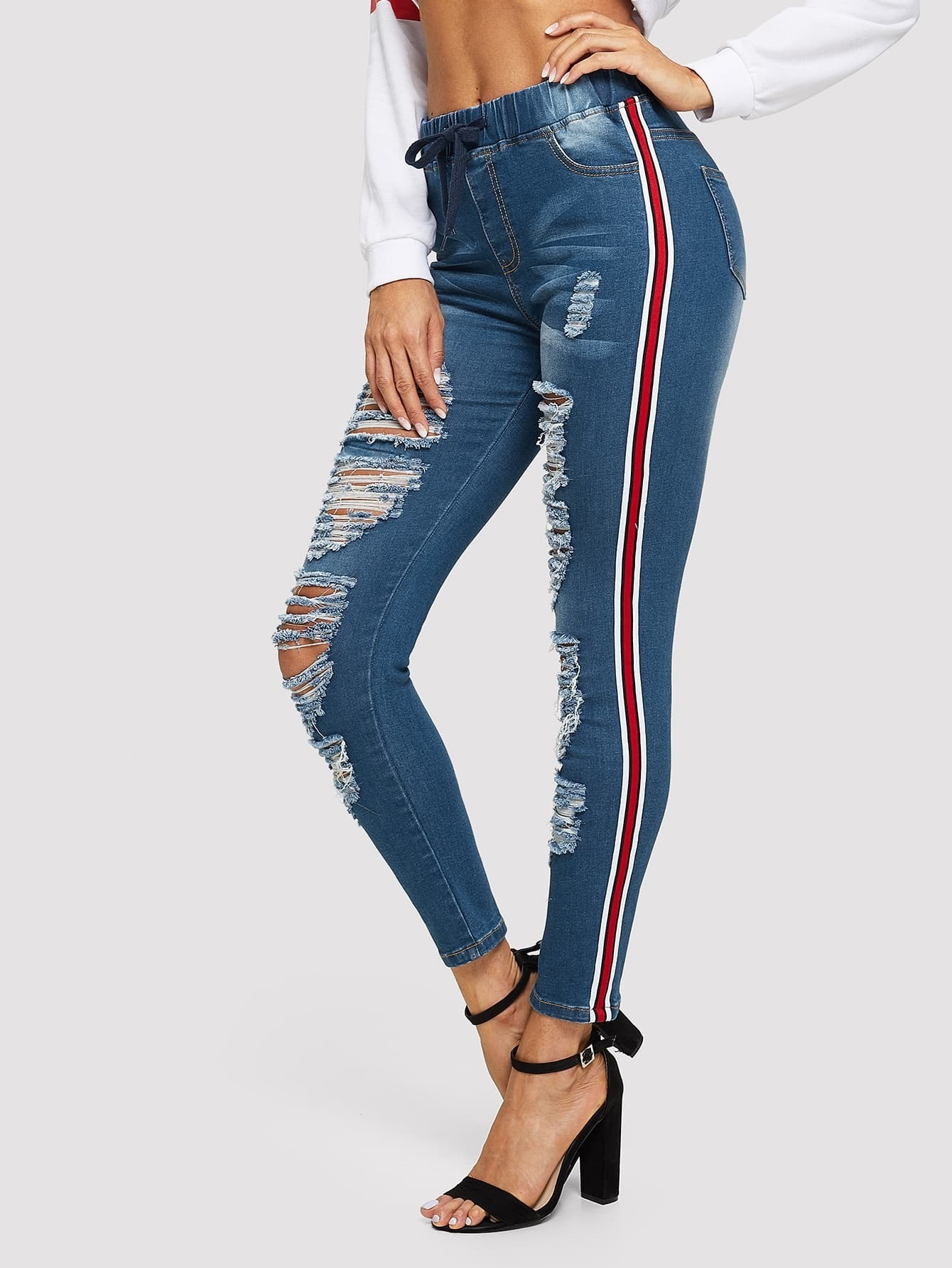 Stripe Contrast Side Distressed Skinny Jeans Stripe Contrast Side Distressed Skinny Jeans