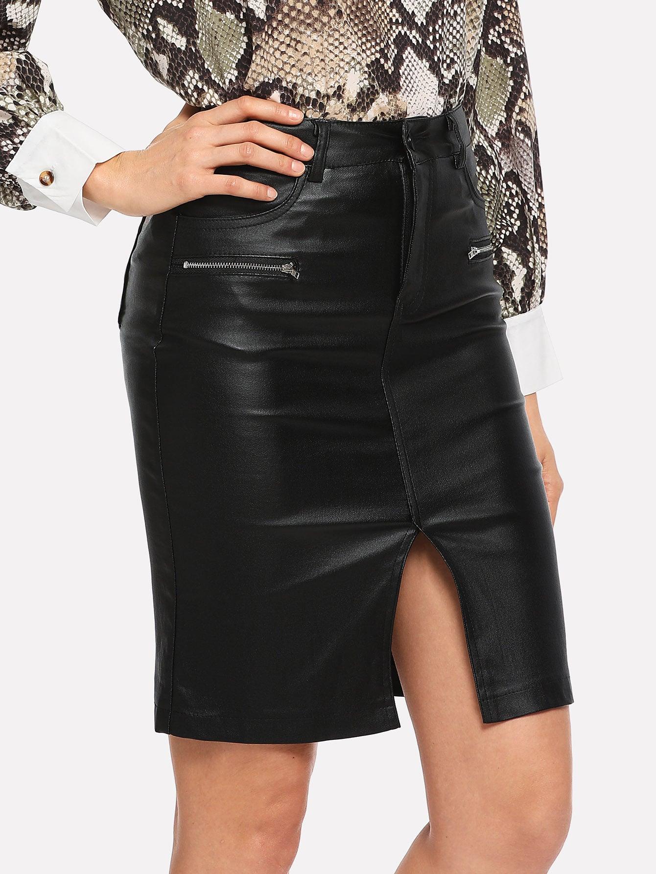 Split Front Zip Side Pu Skirt Split Front Zip Side Pu Skirt