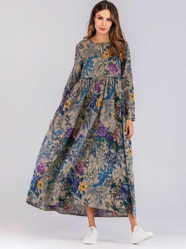 f0f02dc7593 Длинное платье с карманом и цветочным принтом