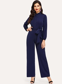 Bishop Sleeve Tie Waist Jumpsuit