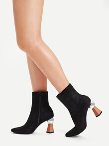 Plain Side Zipper Block Heeled Boots