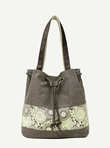 Canvas Tote Bag With Drawstring