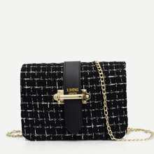 Tweed Chain Crossbody Bag