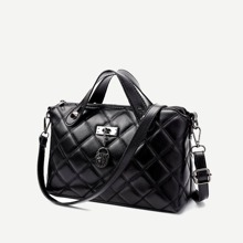 SHEIN | Quilted Detail Satchel Bag | Goxip