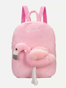 kids flamingo decor fuzzy backpack