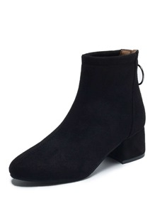 Back Zipper Decor Suede Boots