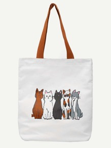 Cat Print Canvas Shopper Bag