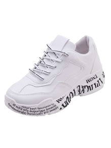Slogan Print Sole Lace-up Trainers