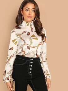 Shirred Frill Neck Chain Print Top