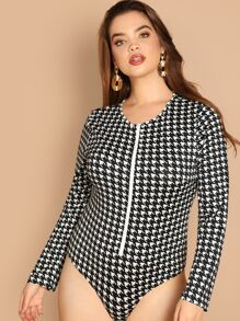 Plus Zip Front Houndstooth Form Fitting Bodysuit