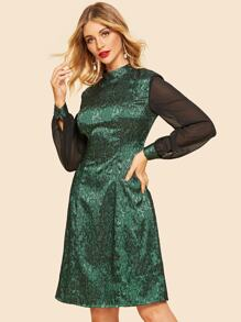 Contrast Balloon Sleeve Jacquard Dress