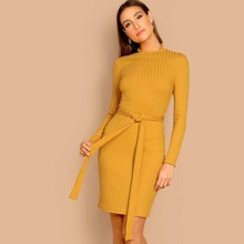 Lettuce Trim Mock-neck Rib-knit Belted Dress
