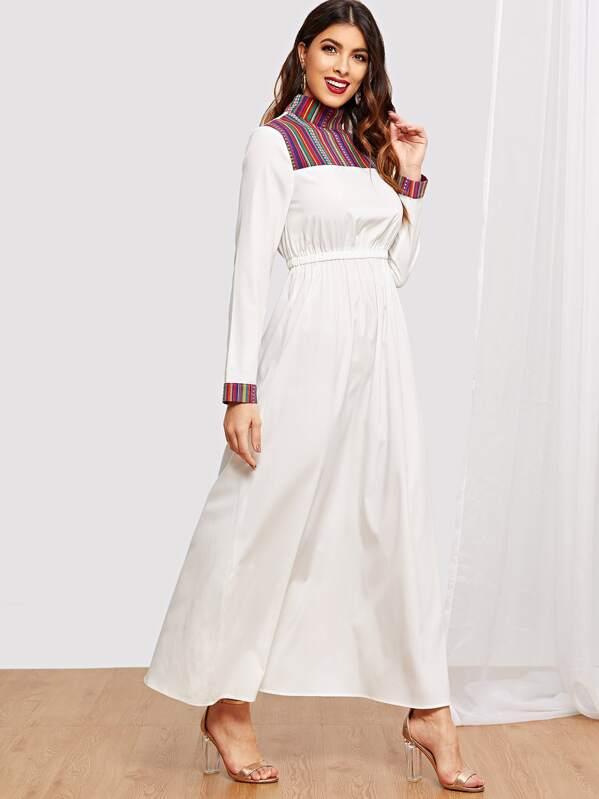 aec6d8fb02fe8 Mock-Neck Elastic Waist Maxi Dress
