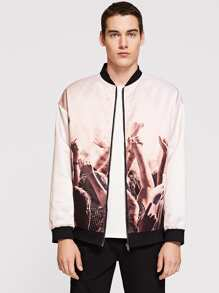 Men Zip Up Figure Print Bomber Jacket