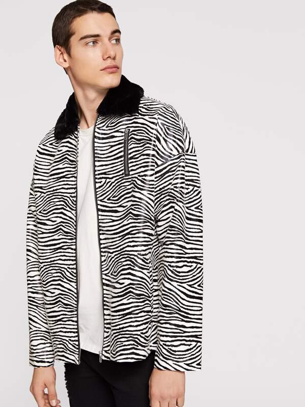 c1048f26b6da Men Zip Up Animal Print Jacket | SHEIN