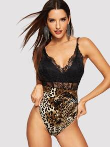 Lace Bodice Crisscross Back Leopard Bodysuit Without Bra