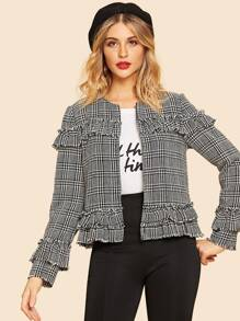Frill Trim Plaid 60s Short Coat