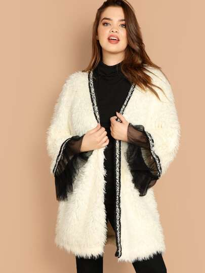 Plus Mesh Trim Open Front Faux Fur Coat