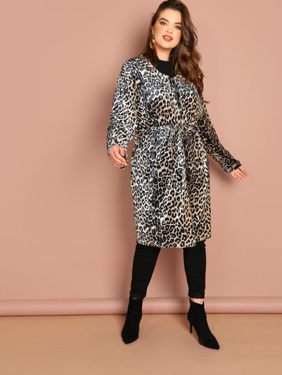 33f62847a Plus Leopard Print Self Belted Coat