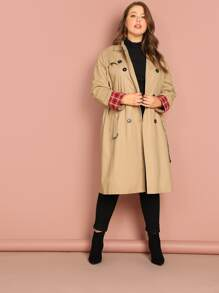 Plus Double Breasted Self Belted Trench Coat