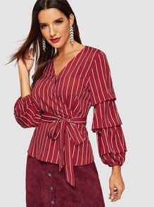 Waist Belted Wrap V-Neck Striped Top