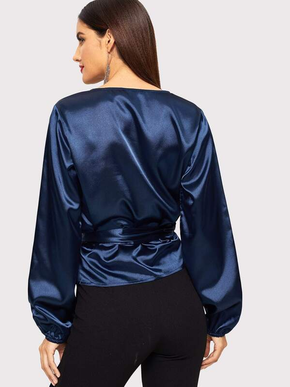 e63201098f Satin Wrap Top With Belt