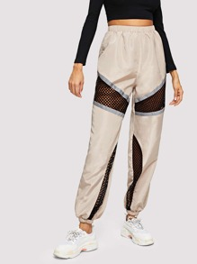 Fishnet Mesh Insert Colorblock Sweatpants