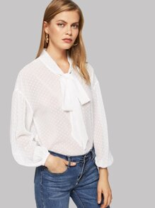 Dot Jacquard Tied Neck Blouse