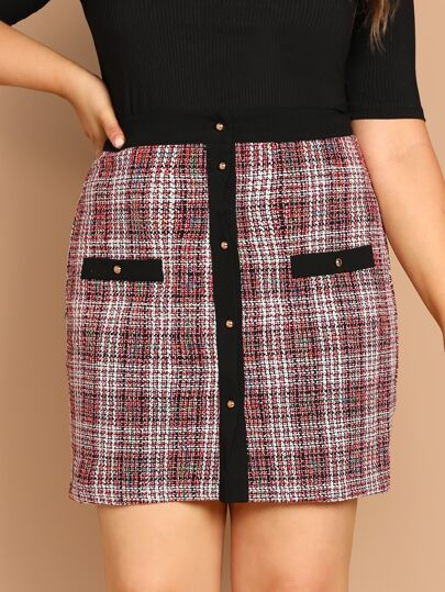 Plus Button Up Tweed Skirt