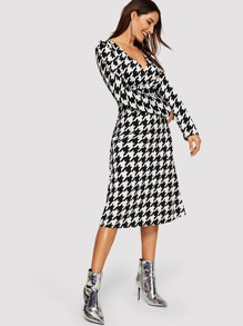 Surplice Neck Houndstooth Print Dress