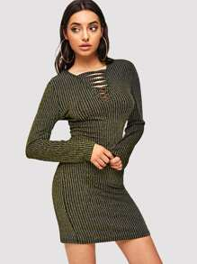 Crisscross V Neck Ribbed Glitter Dress