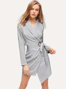 Shawl Collar Surplice Wrap Knot Dress