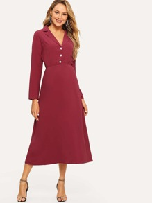 Notched Collar Buttoned Dress