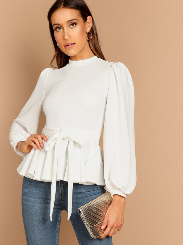 d1bd57597c612e Bishop Sleeve Belted Peplum Top