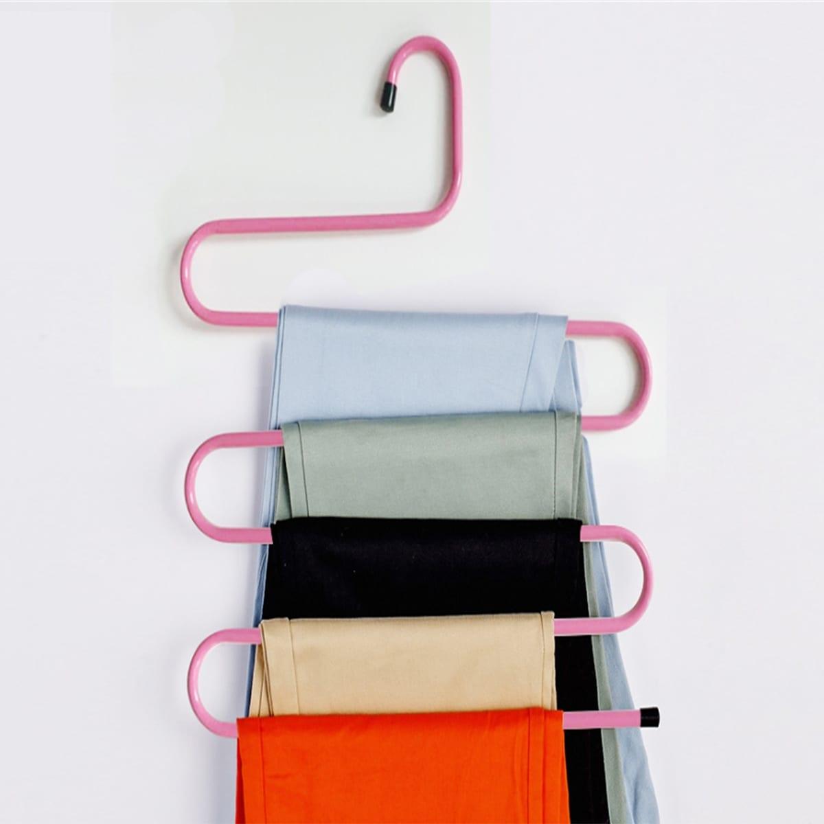 Zufällige Farbe mehrschichtiges S-Form Hose Kleiderbügel