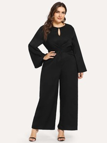 Plus Knot Front Solid Jumpsuit