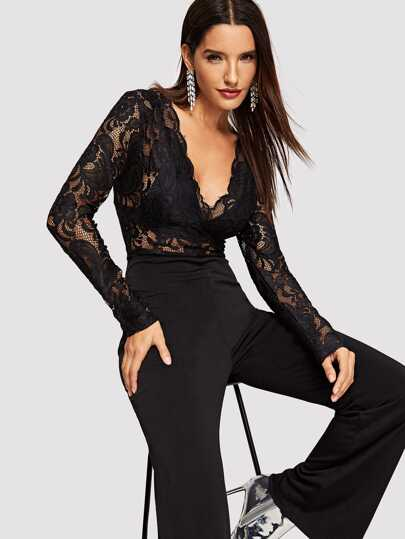 Sheer Lace Bodice Flared Jumpsuit