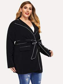 Plus Notched Collar Contrast Binding Coat