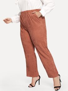 Plus Solid Elastic Waist Cord Pants