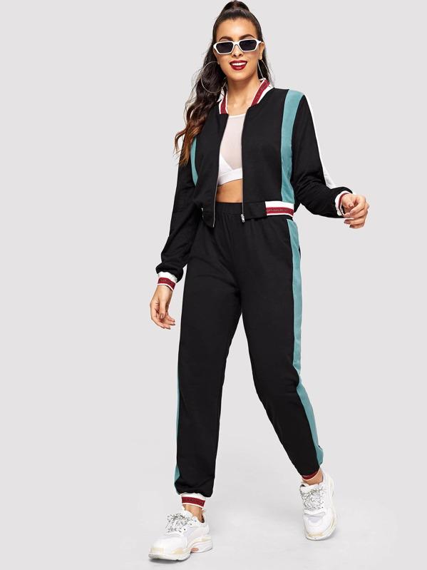 SHEIN Color Block Zip Up Sweatshirt and Sweatpants Set
