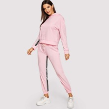 SHEIN | Striped Tape Detail Hoodie & Sweatpants Tracksuit | Goxip