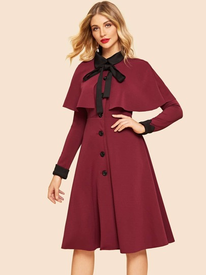 Contrast Collar Fit & Flare Dress With Cape
