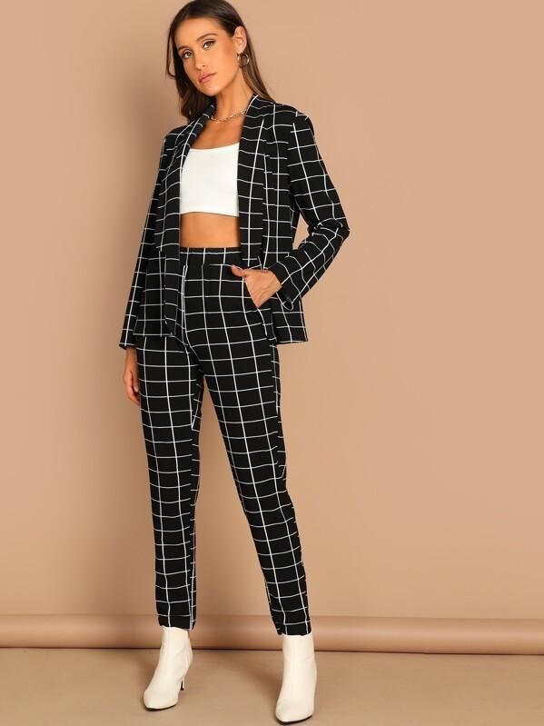eef2c70bd59 Grid Print Blazer   Pants Set