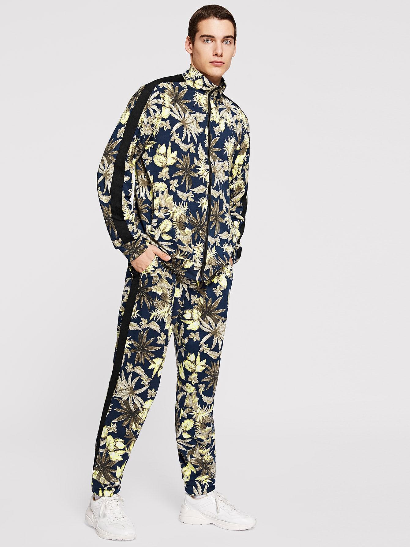 Men Zip Up Tropical Jacket & Pants Set Men Zip Up Tropical Jacket & Pants Set