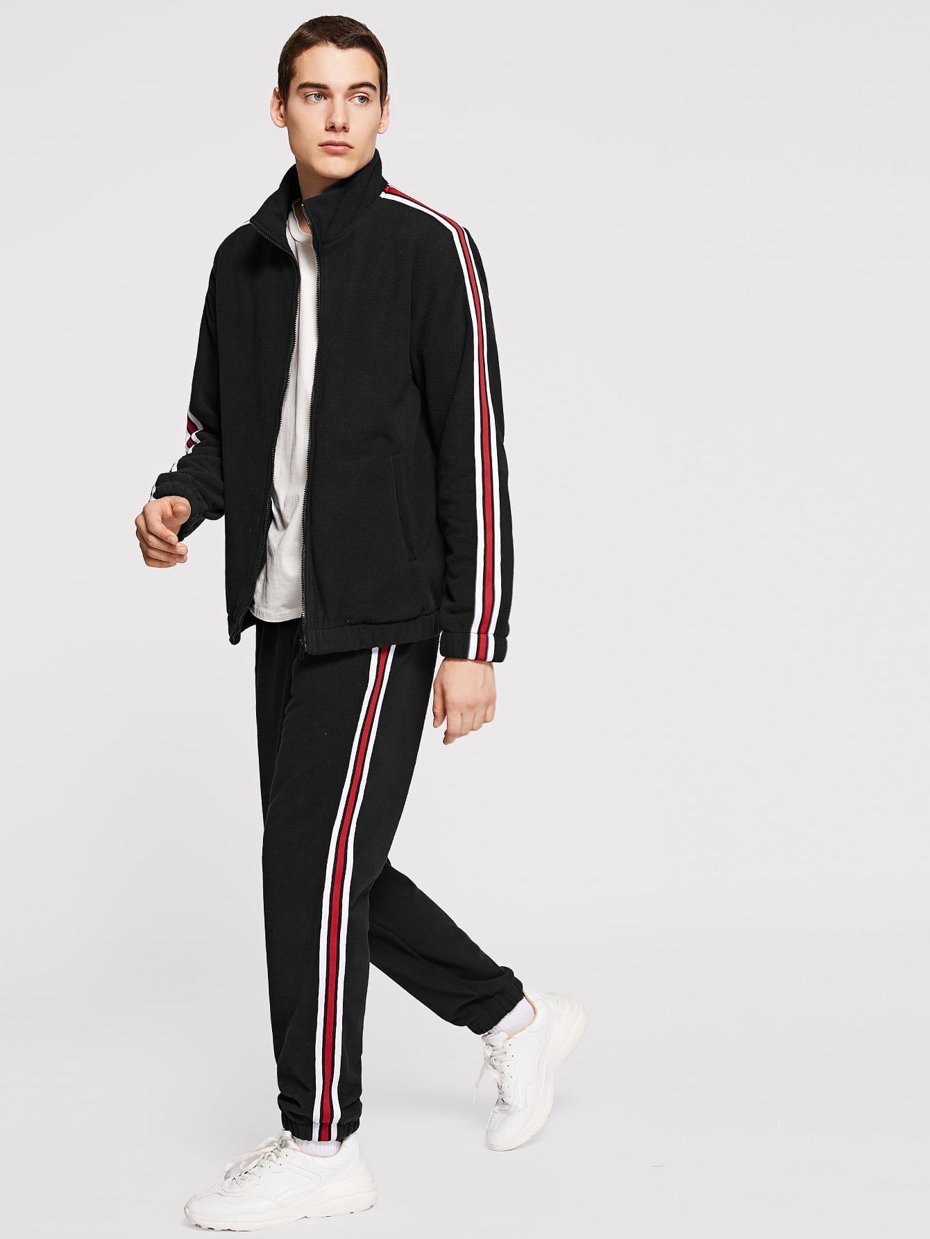 Men Zip Up Mock-Neck Striped Jacket & Pants Set Men Zip Up Mock-Neck Striped Jacket & Pants Set