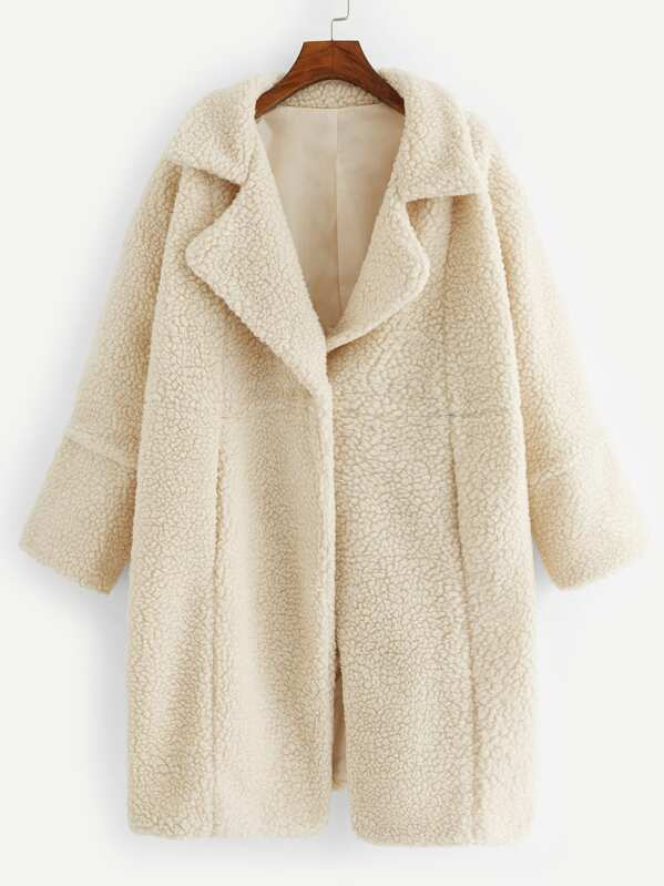 f0357d525e7 Plus Single Button Solid Teddy Coat