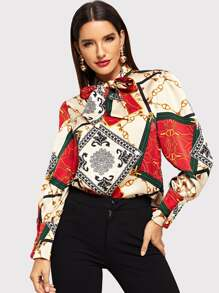 Scarf Print Knot-neck Blouse
