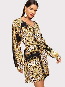 Scarf And Leopard Print V-neck Wrap Dress