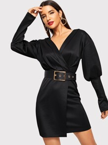 Solid Belt V-neck Dress